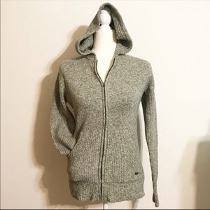 Columbia Green Knit  Waffle Knit Full Zip Hoodie